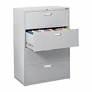 "36"" x 19-1/4"" x 53-1/4"" 4-Drawer 600 Series File Cabinet, Dove Gray"