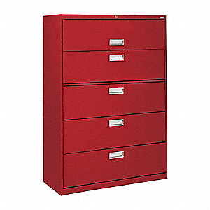 "36"" x 19-1/4"" x 66-3/8"" 5-Drawer 600 Series File Cabinet, Red"