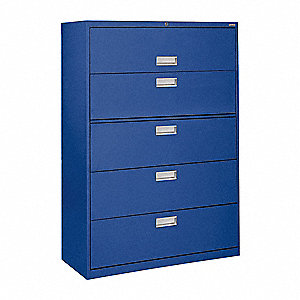 "36"" x 19-1/4"" x 66-3/8"" 5-Drawer 600 Series File Cabinet, Blue"