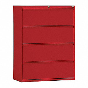"42"" x 19-1/4"" x 53-1/4"" 4-Drawer 800 Series File Cabinet, Red"