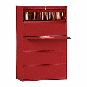 "42"" x 19-1/4"" x 66-3/8"" 5-Drawer 800 Series File Cabinet, Red"