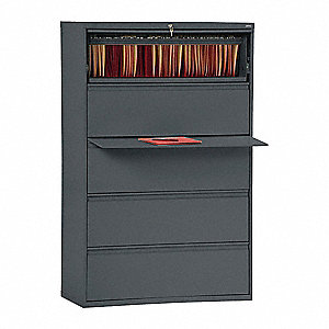 "42"" x 19-1/4"" x 66-3/8"" 5-Drawer 800 Series File Cabinet, Charcoal"