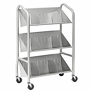 Book Cart,Steel,150 lb.,Silver