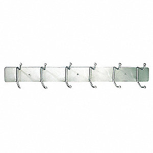Hook Rack,Wall Mount,Steel,Silver