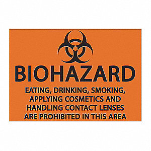 "Eating and Drinking Restriction, Biohazard, Plastic, 7"" x 10"""