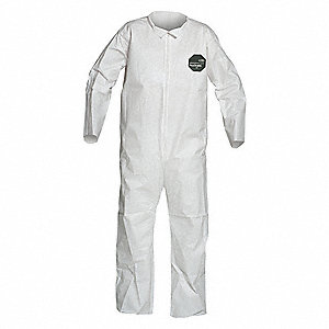 Collared Coverall,Open,White,XL,PK25