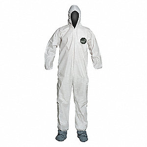 Hooded Disposable Coveralls with Elastic Cuff, Microporous Film Laminate Material, White, 5XL