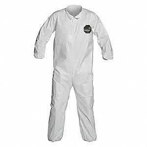 Collared Disposable Coveralls with Elastic Cuff, Microporous Film Laminate Material, White, S