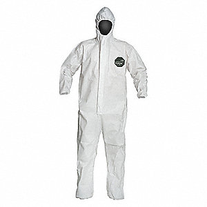 Hooded Disposable Coveralls with Elastic Cuff, Microporous Film Laminate Material, White, M