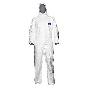 Hooded Disposable Coveralls with Elastic Cuff, Tyvek® 500 Material, White, S