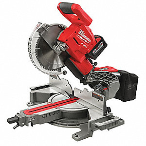 "Cordless Miter Saw Kit, Battery Included, 18.0 Volts, 10"" Blade Dia., Slide: Yes, Bevel: Yes"