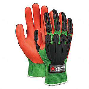 10 Gauge Nitrile Coated Gloves, Glove Size: M, Lime/Orange