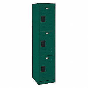 "Green Wardrobe Locker, (1) Wide, (3) Tier Openings: 3, 15"" W X 18"" D X 66"" H"