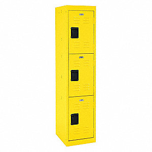 "Yellow Wardrobe Locker, (1) Wide, (3) Tier Openings: 3, 15"" W X 18"" D X 66"" H"