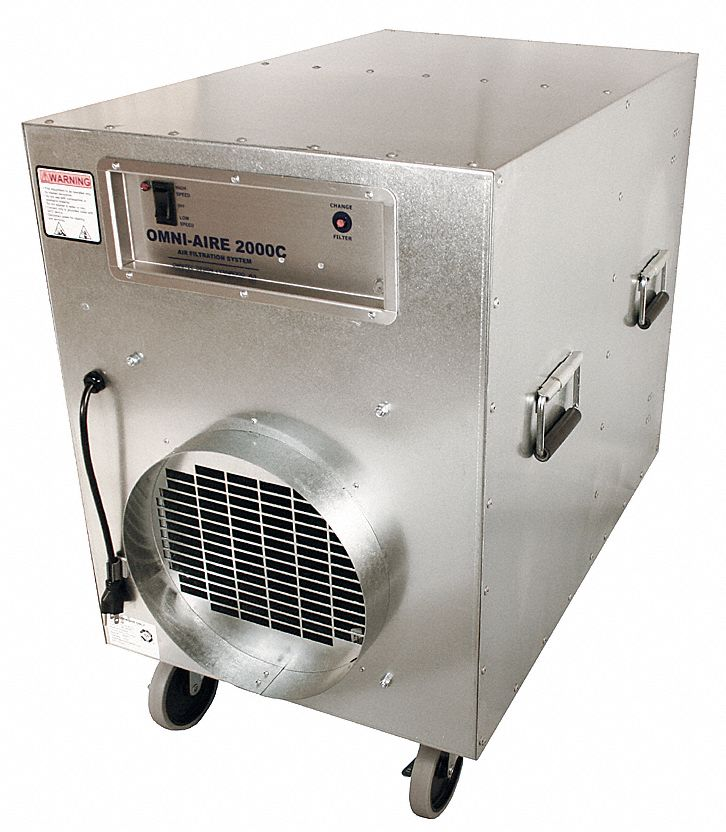 Negative Air Machine,  2 Speed Thermally Protected Motor,  HP 1 1/2 hp,  Voltage 115 V,  12.0 A Amps