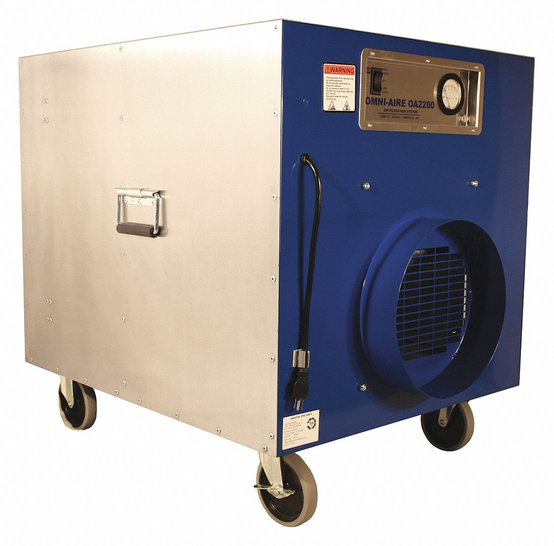 Negative Air Machine,  2 Speed Thermally Protected Motor,  HP 1 1/4 hp,  Voltage 115 V,  13.8 A Amps