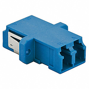 Blue Fiber Optic Adapter, LC Duplex Connector Type, Number of Ports: 2