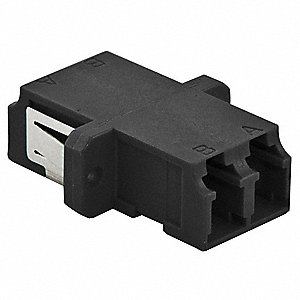 Black Fiber Optic Adapter, LC Duplex Connector Type, Number of Ports: 2