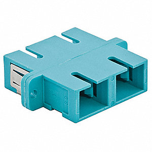 Aqua Fiber Optic Adapter, SC Duplex Connector Type, Number of Ports: 2