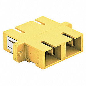 Yellow Fiber Optic Adapter, SC Duplex Connector Type, Number of Ports: 2