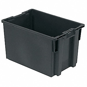 "Stack and Nest Container, Gray, 14-5/16""H x 23-5/8""L x 15-13/16""W, 1EA"