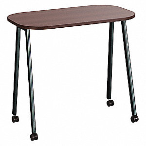 Mobile Table, Walnut, 30in W, Nylon Casters