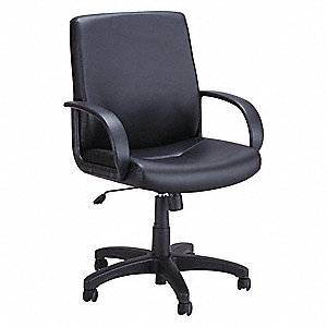 "Black Vinyl Executive Chair 22-1/2"" Back Height, Arm Style: Fixed"