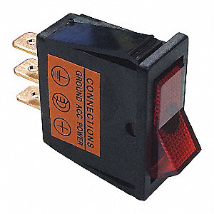 Rocker Switch,SPST,Red,On/Off