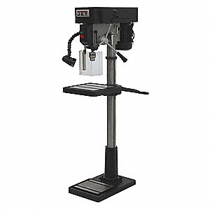 "1 Motor HP Floor Drill Press, Belt Drive Type, 16-7/8"" Swing, 115/230 Voltage"