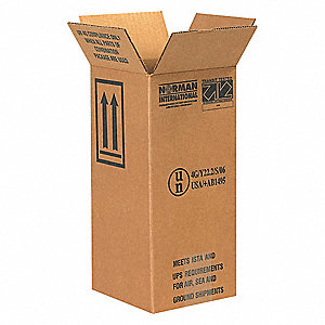 "Shipping Carton, Kraft, Inside Width 6"", Inside Length 6"", Inside Depth 12-3/4"", 95 lb., 20 PK"