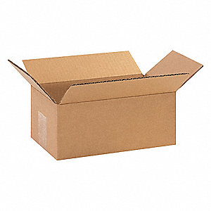 "Shipping Carton, Kraft, Inside Width 5"", Inside Length 9"", Inside Depth 3"", 65 lb., 25 PK"