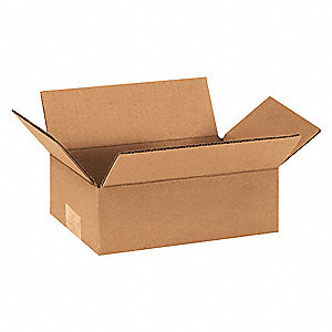 "Shipping Carton, Kraft, Inside Width 6"", Inside Length 9"", Inside Depth 3"", 65 lb., 25 PK"