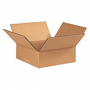 "Shipping Carton, Kraft, Inside Width 8"", Inside Length 8"", Inside Depth 2"", 65 lb., 25 PK"