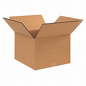 "Shipping Carton, Kraft, Inside Width 10"", Inside Length 12"", Inside Depth 10"", 100 lb., 15 PK"