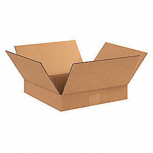 "Shipping Carton, Kraft, Inside Width 12"", Inside Length 12"", Inside Depth 2"", 65 lb., 25 PK"