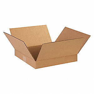 "Shipping Carton, Kraft, Inside Width 14"", Inside Length 14"", Inside Depth 2"", 65 lb., 25 PK"