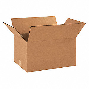 "Shipping Carton, Kraft, Inside Width 12"", Inside Length 16"", Inside Depth 10"", 100 lb., 15 PK"