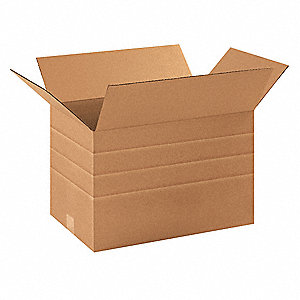 "Shipping Carton, Kraft, Inside Width 11-1/2"", Inside Length 17-1/4"", Inside Depth 11"", 65 lb., 25 PK"
