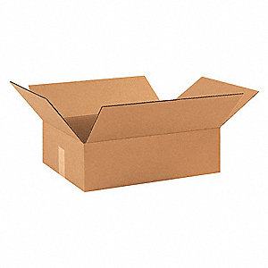 "Shipping Carton, Kraft, Inside Width 12"", Inside Length 17-1/2"", Inside Depth 3"", 65 lb., 25 PK"