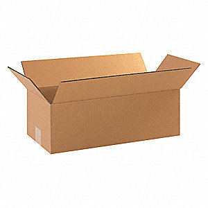 "Shipping Carton, Kraft, Inside Width 8"", Inside Length 18"", Inside Depth 4"", 65 lb., 25 PK"