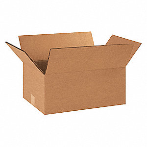 "Shipping Carton, Kraft, Inside Width 12"", Inside Length 18"", Inside Depth 6"", 100 lb., 15 PK"