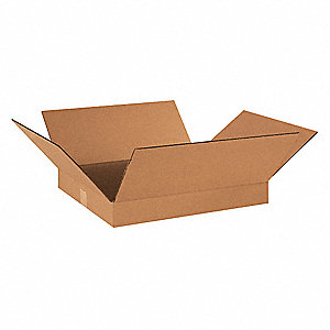 "Shipping Carton, Kraft, Inside Width 16"", Inside Length 18"", Inside Depth 2"", 65 lb., 25 PK"