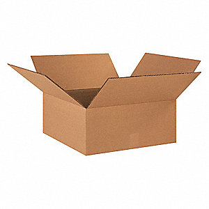 "Shipping Carton, Kraft, Inside Width 18"", Inside Length 18"", Inside Depth 6"", 100 lb., 15 PK"