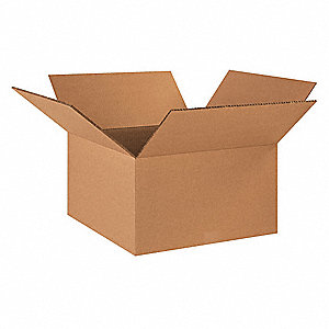 "Shipping Carton, Kraft, Inside Width 18"", Inside Length 18"", Inside Depth 10"", 100 lb., 15 PK"