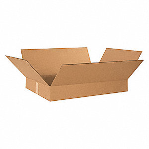 "Shipping Carton, Kraft, Inside Width 12"", Inside Length 19"", Inside Depth 3"", 65 lb., 25 PK"