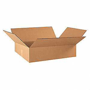 "Shipping Carton, Kraft, Inside Width 16"", Inside Length 22"", Inside Depth 6"", 65 lb., 25 PK"