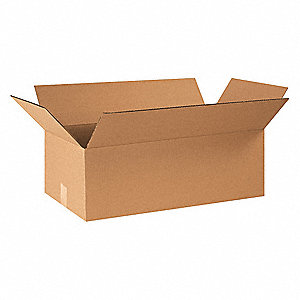 "Shipping Carton, Kraft, Inside Width 12"", Inside Length 24"", Inside Depth 8"", 65 lb., 25 PK"