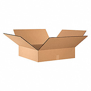 "Shipping Carton, Kraft, Inside Width 24"", Inside Length 24"", Inside Depth 6"", 100 lb., 10 PK"