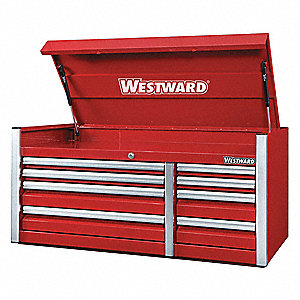 "Red Industrial Premium Top Chest, 46-1/2"" H X 54"" W X 24"" D, Number of Drawers: 11"