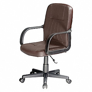 "Brown Leather Desk Chair 20"" Back Height, Arm Style: Fixed"